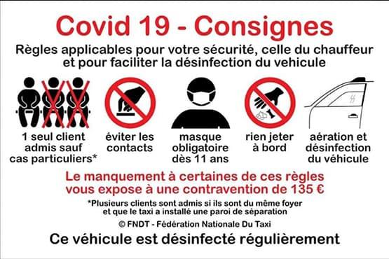 Consignes de sécurité à bord pour la protection sanitaire des passagers de Taxi sur Montpellier